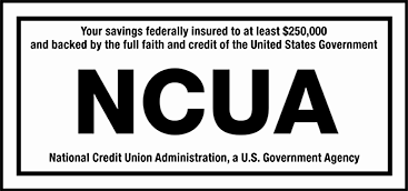 NCUA Logo. This credit union is federally insured by the National Credit Union Administration.